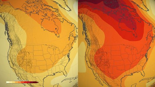 By the end of the century, average temperatures will rise regardless of our emissions output: In the US, 4.5 degrees F (2°C) in a low emissions scenario, as seen on the left, versus 8 degrees F (4°C) in a high emissions scenario, shown on the right. Image: NASA.
