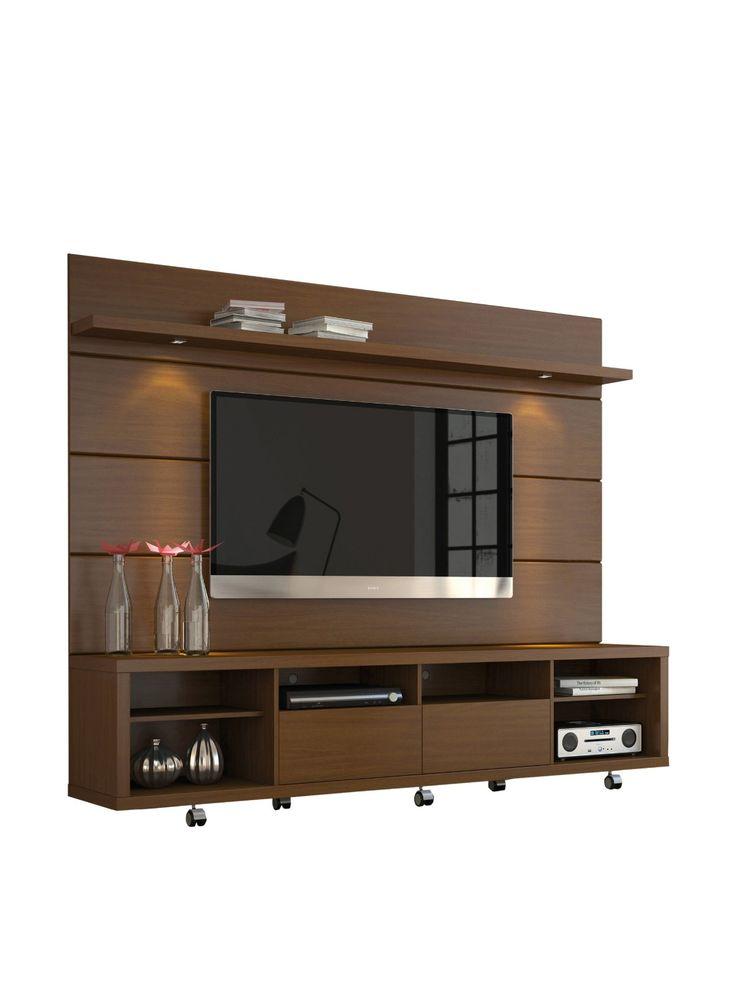 """Amazon.com: Manhattan Comfort Cabrini 70 """"Подставка под телевизор & Floating Wall ТВ панель 2.2, Ореховый, 85.8Lx17.5Wx73H: Кухня и Столовая"""