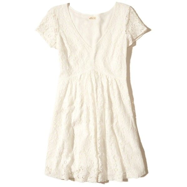 Hollister V-neck Lace Skater Dress ($50) ❤ liked on Polyvore featuring dresses, white lace, flared skirt, skater dress, white skater skirt, white circle skirt and white skater dress