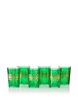 65% OFF Found Objects Set of 6 Souad Moroccan Glasses (Green)