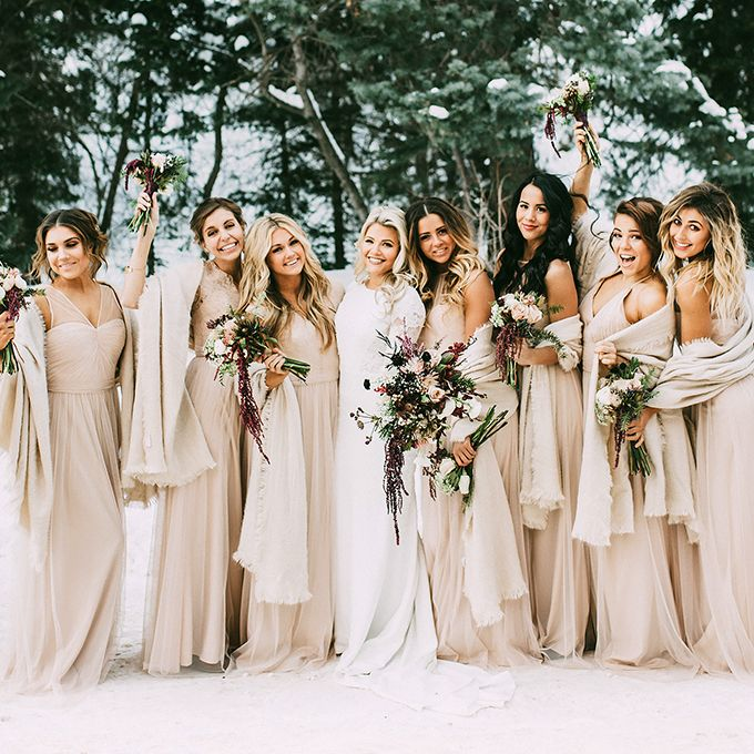 Brides.com: . Dancing with the Stars' Lindsay Arnold, Emma Slater, Jenna Johnson, and Brittany Cherry. Just imagine the dance floor at this reception! DWTS pro, Witney Carson, called upon her twirling co-stars to serve as bridesmaids at her New Year's Day wedding. Lindsay Arnold, Emma Slater, Jenna Johnson, and Brittany Cherry all donned matching pale pink Amsale gowns and wintery wraps for the occasion.