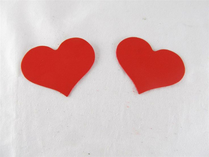 Red leather hearts 55mm (2 pcs) DIY cut leather flowers Craft supplies Jewelry materials Leather pieces