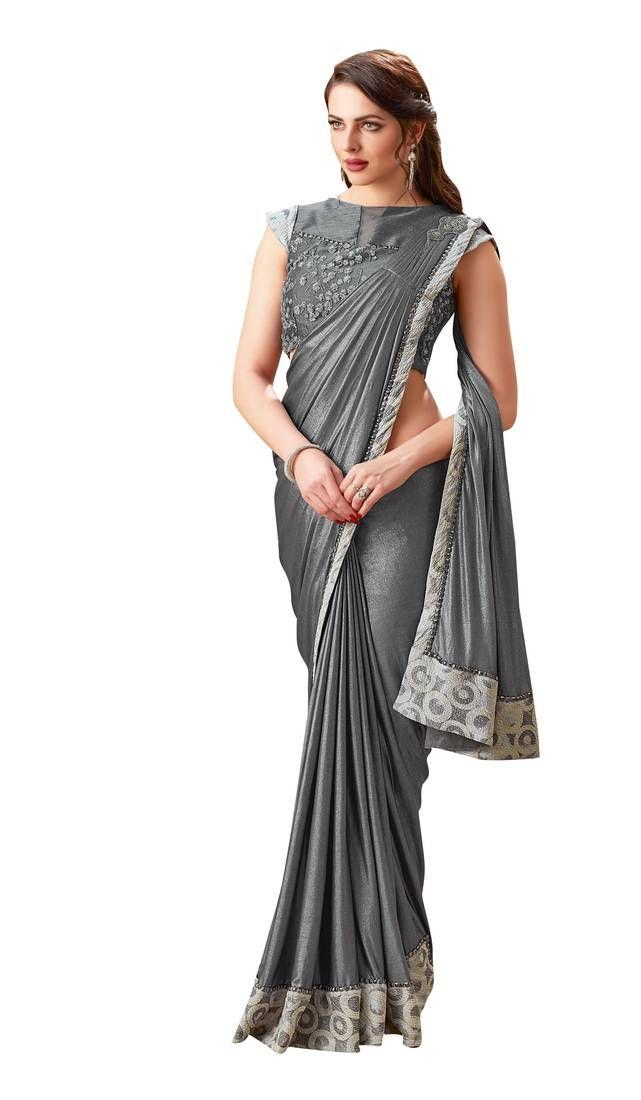 Grey Embroidered Lycra Saree With Blouse Mahotsav E