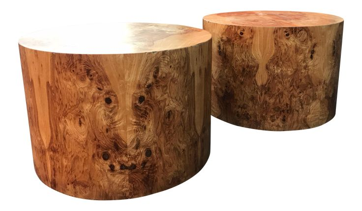 Paul Mayen Burl Wood Drum Side Tables a Pair on Chairish.com