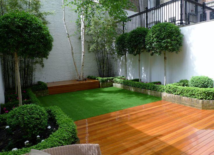 Balau Hardwood Decking Fake Grass Mature Topiary Planting Battersea Fulham  Chelsea London