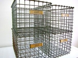 gym wire locker basket --- I LOVE these things... I would so love to have a shelf full of them for movies & music!!!