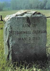 "Tombstone for Thomas ""Stonewall"" Jackson's left arm.  He was shot by friendly fire and his arm was amputated and buried in the battlefield.  He survived but died 8 days later of pneumonia and is buried at Lexington, VA"