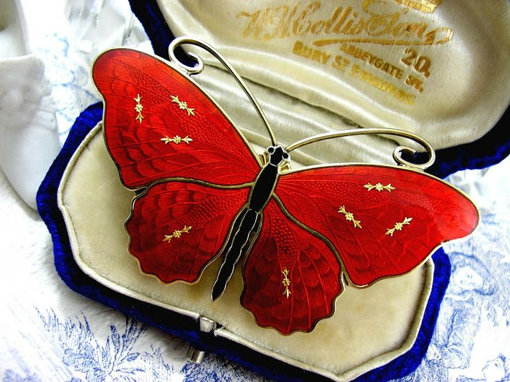 One of my favorites: O.F. Hjortdahl Butterfly Brooch Red Guilloche Enamel Scandinavian Silver Jewelry