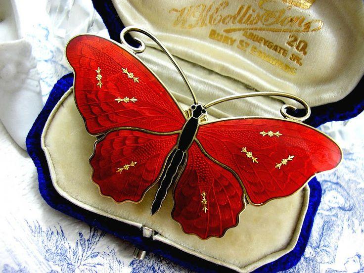 One of my favorites: O.F. Hjortdahl Butterfly Brooch Red Guilloche Enamel Scandinavian Silver Jewelry