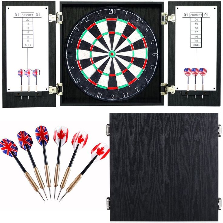 Dartboard Scoreboard Cabinet Wood Wall Mount Rustic Darts Target Official Set 18 #Hathaway