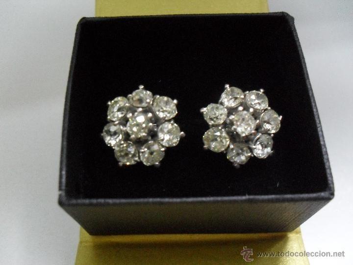Pendientes antiguos oro blanco y diamantes / Joyas antiguas en todocoleccion