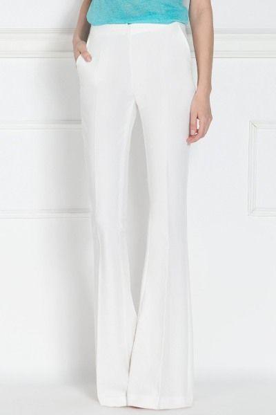 Pantaloni albi evazaţi   P7766   NISSA