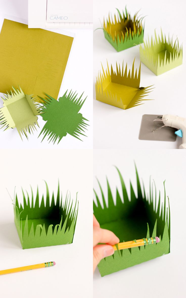Grass Paper Boxes (free cut files!) // www.deliacreates.com