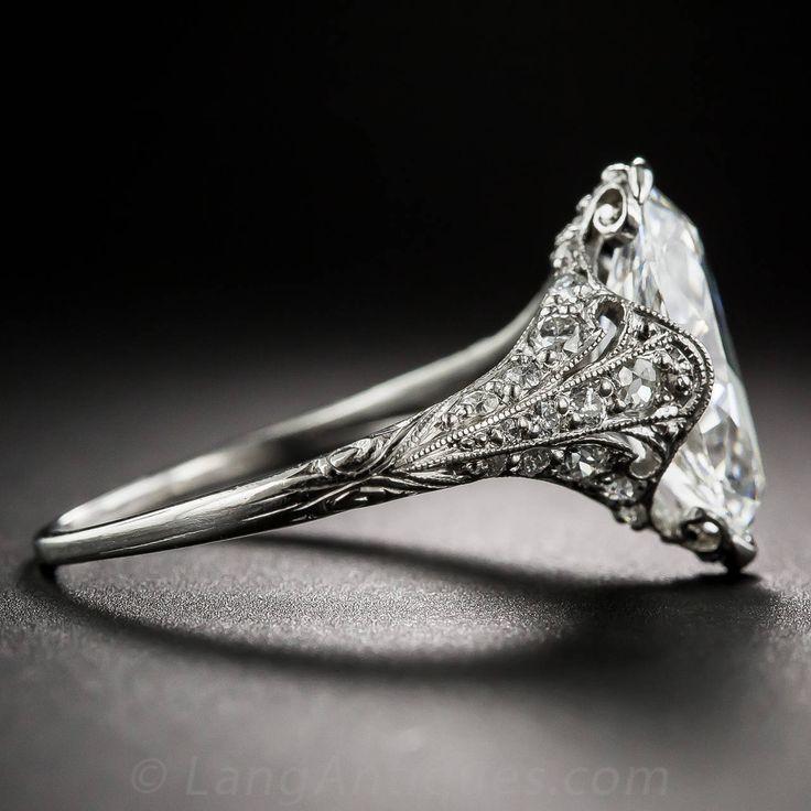 Tiffany & Co. Edwardian 3.14 Carat Marquise Diamond Platinum Ring image 4