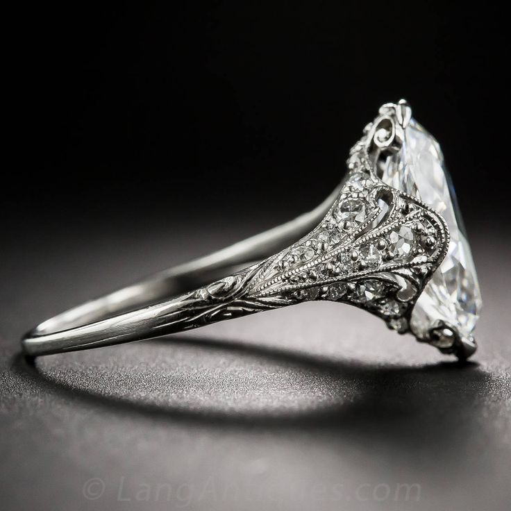Love this detail! First cut I loved. Tiffany & Co. Edwardian 3.14 Carat Marquise Diamond Platinum Ring image 4