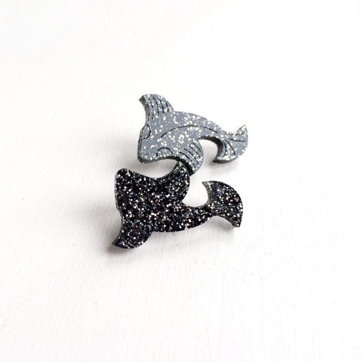 SAMPLE SALE: Sparkle Koi Carp Stud Earrings- Laser-Cut Engraved Glitter Acrylic - Black Silver - Surgical Steel Earring Backs - Fish Studs