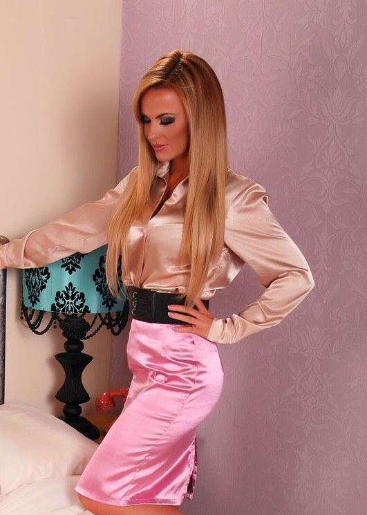 Silk and satin blouse fetish