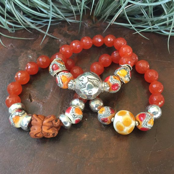 Hear See and Speak No Evil Orange Jade by JewelrybyKellyWalker