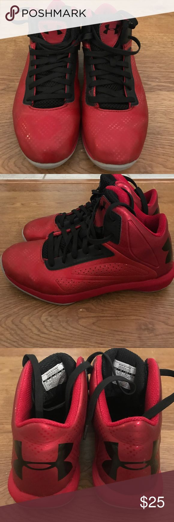 Gently  used Under Amour high top Tennis Shoes . Gently used red/black high top unisex under Armour Tennis Shoes.  My son wore them mainly for basketball only .. Under Armour Shoes Sneakers