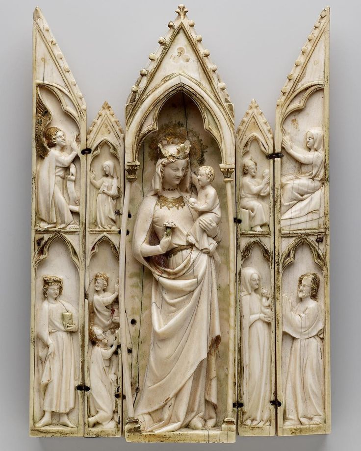 This carved ivory polyptych was made in the early 1300s in France. It shows scenes from the Life of Christ, with the Virgin and Child in the centre. The Annunciation by the Angel Gabriel and the Adoration of the Magi are on the left, and on the right is the Nativity. A polyptych is a work of art made up of multiple pieces – the word comes from the Greek 'poly' (many) and 'ptychē' (fold). #Nativity #ChristmasEve #Christmas #polyptych #France #14thcentury