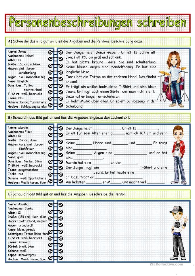 personenbeschreibung schreiben 2 unterricht personenbeschreibung deutsch lernen und. Black Bedroom Furniture Sets. Home Design Ideas