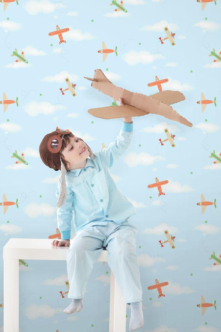 #Kinderkamer #behang #jongens met vliegtuigen in mooie tinten uit de collectie #Carousel.