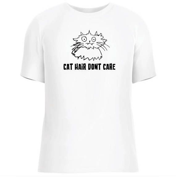 Cat Hair Don't Care. Funny Cat Tee, Animal rescue shirt. Moggies Cat Rescue. Beepbopagency.
