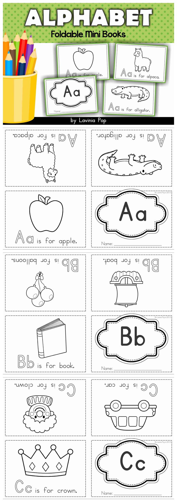 Alphabet Foldabe Mini Books. No cutting and stapling required - just fold and you're ready to go!