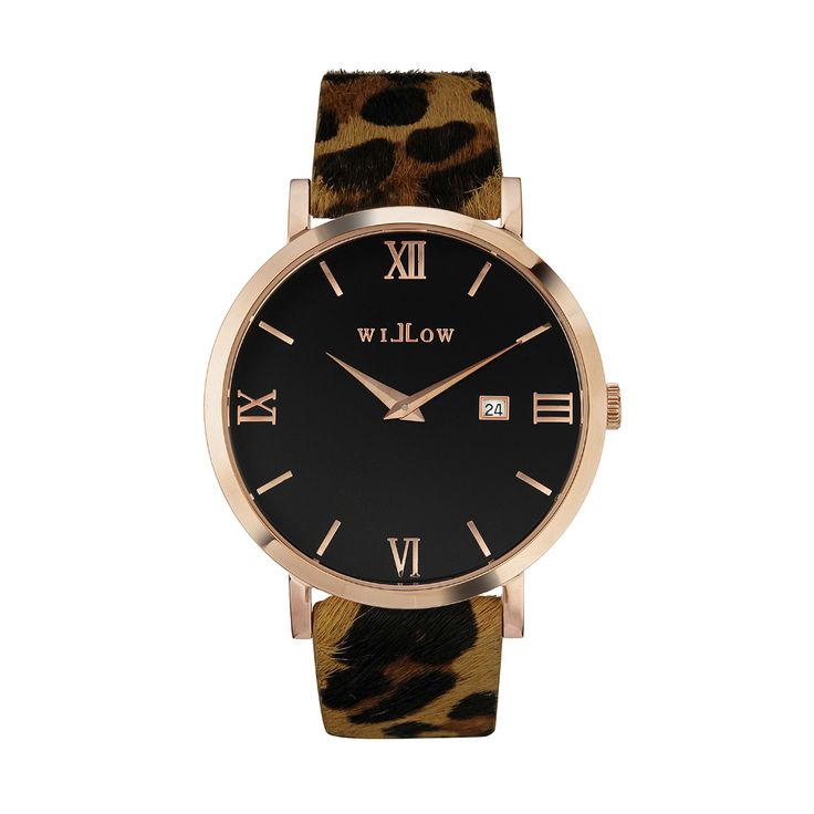 Roma Rose Gold Watch & Interchangeable Leopard Leather Strap.