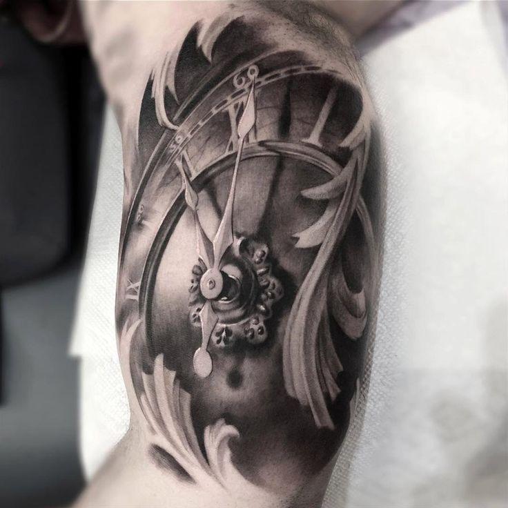 Custom Clock Bicep Tattoo | Best Tattoo Ideas & Designs