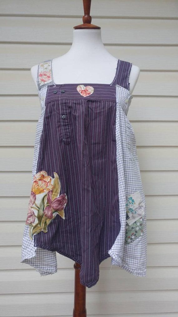 623a17de9d Upcycled clothing,repurposed clothing,tank top,pinafore,purple,summer  top,upcycled tunic,artsy cloth