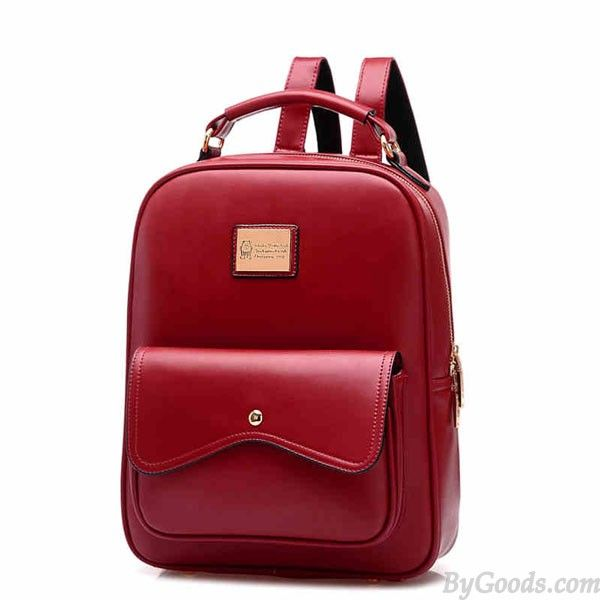 Fashion Leather Zipper Student Bag Schoolbag Backpack  only $39.99 in ByGoods.com!