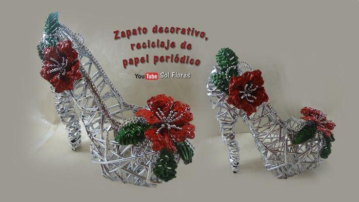 Zapato decorativo, reciclaje de papel periódico - Decorative shoe, recyc...