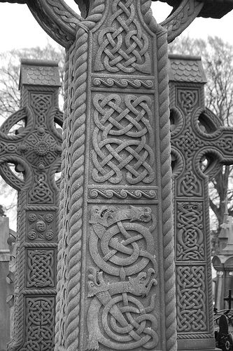 Celtic Crosses at Glasnevin Cemetary (Glasnevin Cemetery is a large cemetery in Glasnevin, Dublin, Ireland which opened in 1832.)