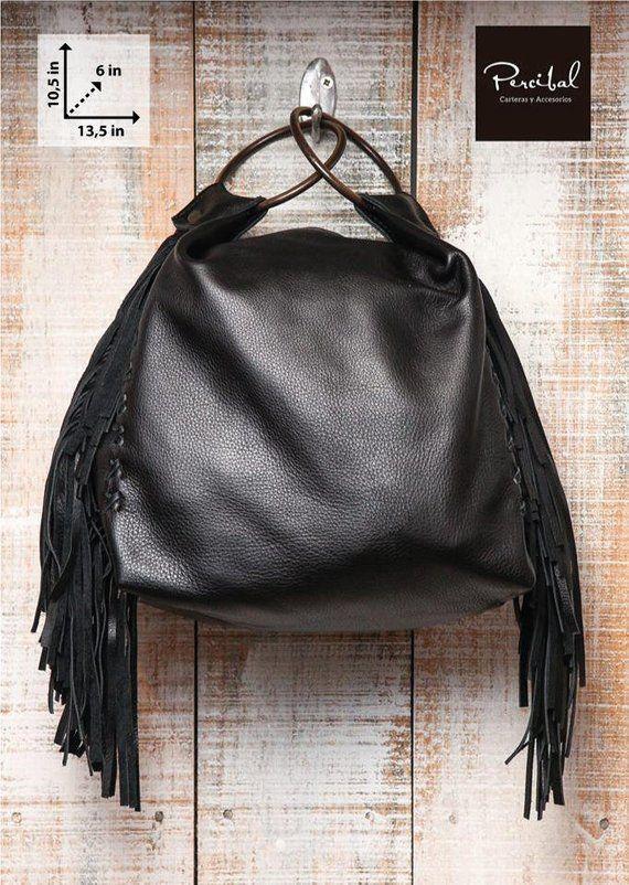 Small Black Handbag Soft Leather Bag Fringes Purse Evening