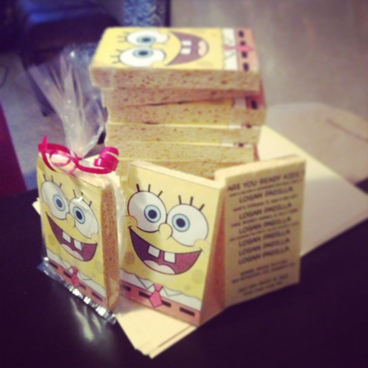 Spongebob birthday invitations....... Sponges from dollar tree an image found under google then resized it, cut and hot glued it to sponge .the back has all the birthday party information in the theme of the song just replace spongebobs's name for the birthday boys name.
