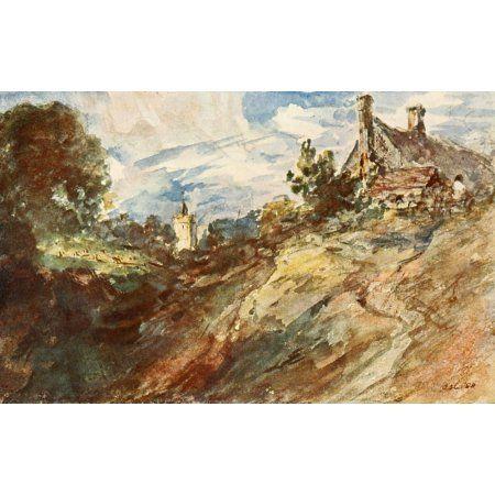 British Water Colour Painting 1908 Landscape with a Cottage Canvas Art - John Constable (18 x 24)
