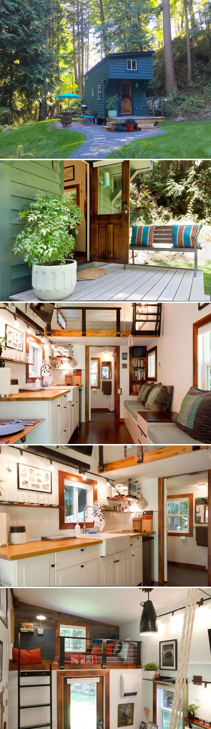 This 144 sq.ft. tiny house is an Airbnb rental located on Guemes Island in Washington State. Sleep up to three people and starts at $119/night.