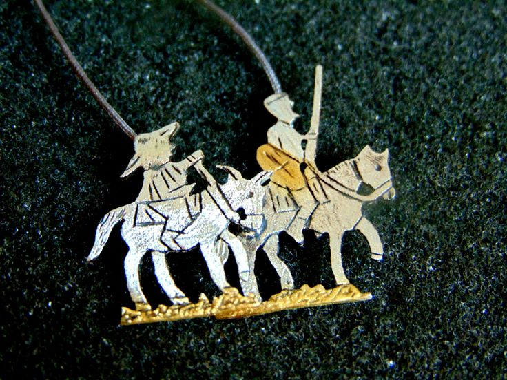 Sterling Silver Necklace,Silver 925 and Gold Plated Silver Charm Necklace,Don Quixote Necklace for Women,Unique Fairy Tale Jewelry, by ArchipelagosBreeze on Etsy