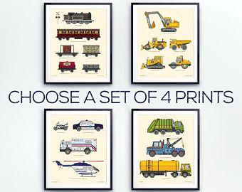 Peuter kamer decor, vervoer wall art, instellen van vier, Truck print, peuter jongen, grote jongens kamer, voertuig illustratie door weinig grijpers