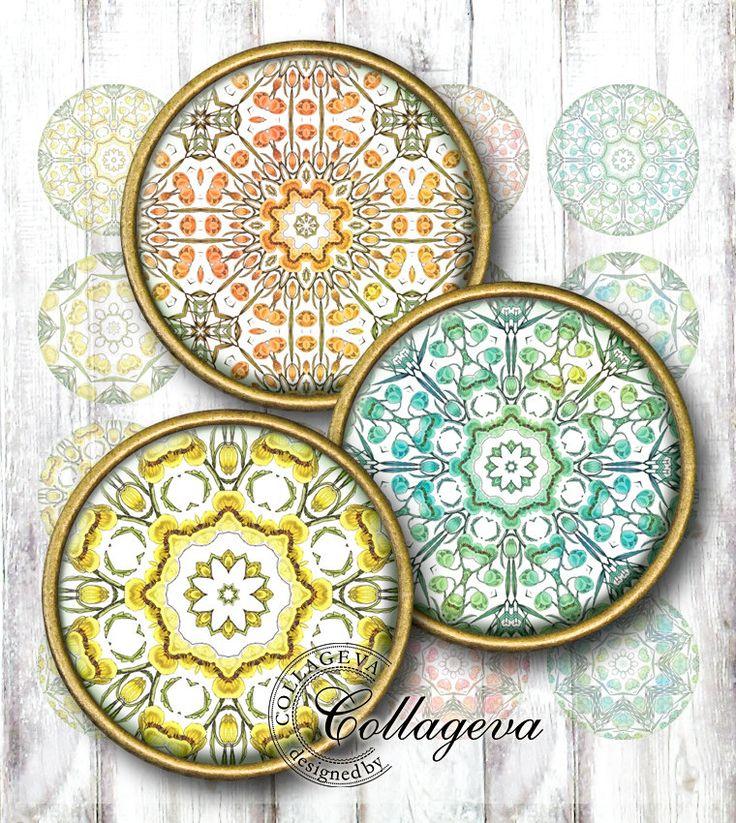 "Pastel Flower Mandala Digital Collage Sheet 1.5"" 1.25"" 30 mm 25 mm 1 inch circles, Yellow Pink Orange Turquoise Watercolor Rosettes (KM09-c) by collageva on Etsy"