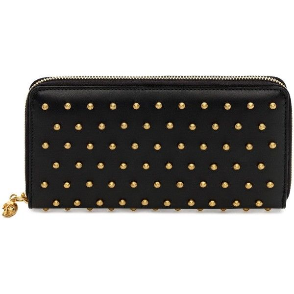 Alexander McQueen Black Nappa Leather Studded Continental Wallet (2,455 ILS) ❤ liked on Polyvore featuring bags, wallets, purses, clutches, wallet, accessories, black, zipper wallet, black zip around wallet and coin pouch