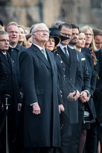 The Swedish royal family from L-R King Carl XVI Gustaf, Queen Silvia, Crown Princess Victoria, Prince Daniel, Prince Carl Philip and Princess Sofia of Sweden attend the city of Stockholm's official ceremony for the victims of the recent terrorist attack on April 10, 2017 in Stockholm, Sweden.