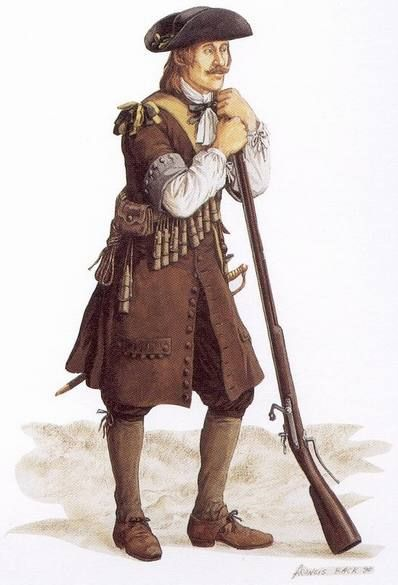 Régiment de Carignan-Salières musketeer 1665.  In 1665 1200 men of the regiment were sent to Quebec City in New France (Canada) to protect settlers from the depredations of the Iroquois.