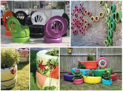 C mo hacer macetas con neum ticos paso a paso diy y for Decorar el jardin con cosas recicladas