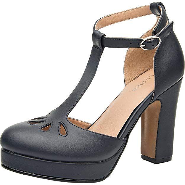 1aa804b8b9398 Luoika Women's Wide Width Heel Pump - Ankle Buckle Strap Mid Chunky ...