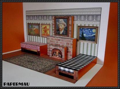 van gogh pop up living room free papercraft download