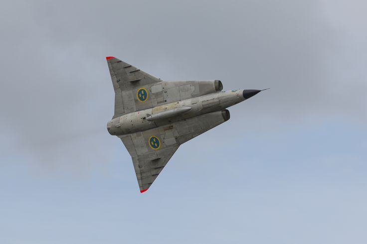 "https://flic.kr/p/pJbFh2 | Saab 35 Draken | The Saab 35 Draken (English: ""Kite"", ambiguous with ‌""Dragon"") was a Swedish fighter aircraft manufactured by Saab between 1955 and 1974. The Draken was built to replace the Saab J 29 Tunnan and, later, the fighter variant (J 32B) of the Saab 32 Lansen. The indigenous J 35 was an effective supersonic Cold War fighter that was also successfully exported to Austria, Denmark and Finland  Draken's design incorporated a distinctive ""double-delta""…"