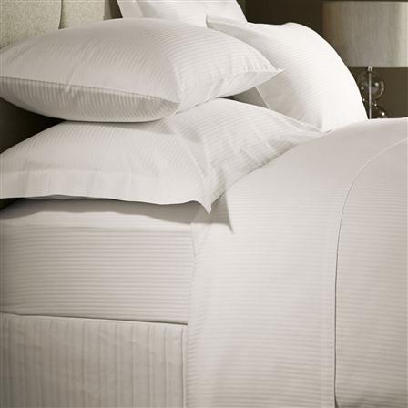 Hotel Living 400TC Satin Stripe King Flat Sheet, Ivory