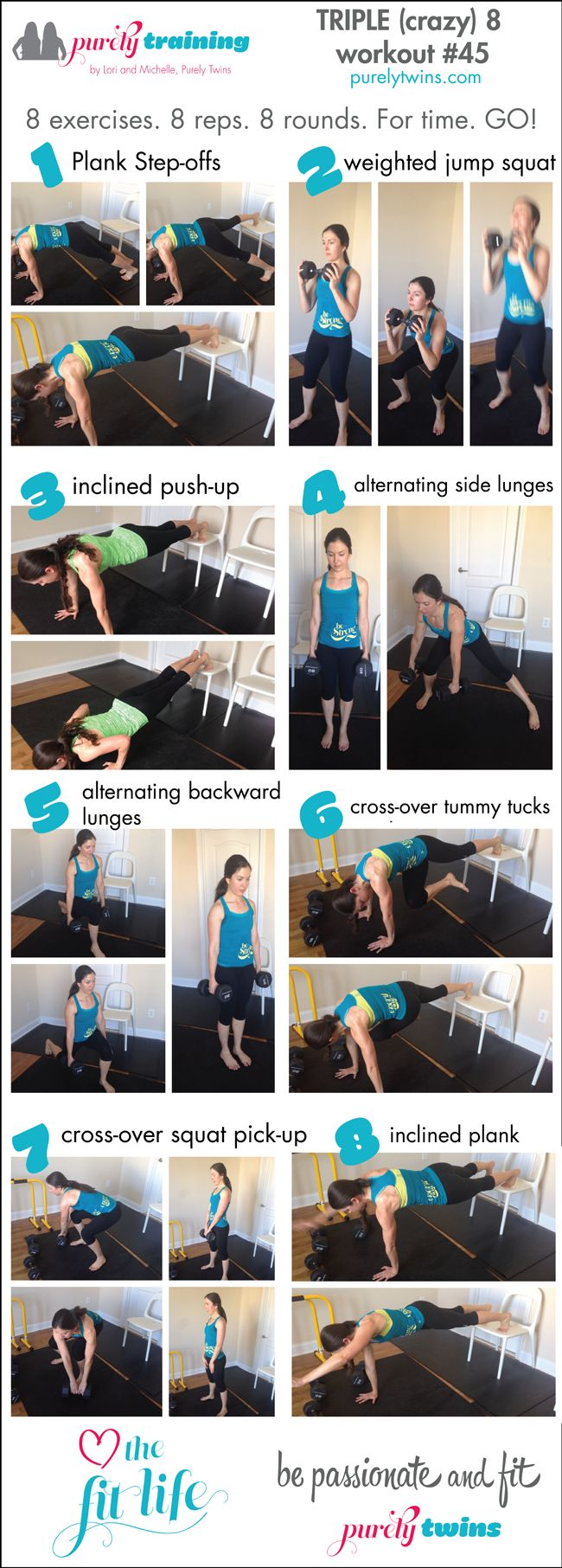 Triple 8 purely training FULL BODY workout that you do 8 exercises 8 reps and for 8 rounds. A time challenge workout where you just need a chair and free weights. Perfect to do at home. Download your printable and workout with us.